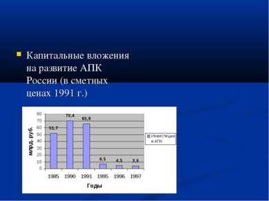 Капитальные вложения на развитие АПК России (в сметных ценах 1991 г.)