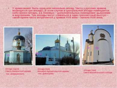 У храма может быть одна или несколько апсид. Часто у русских храмов возводятс...