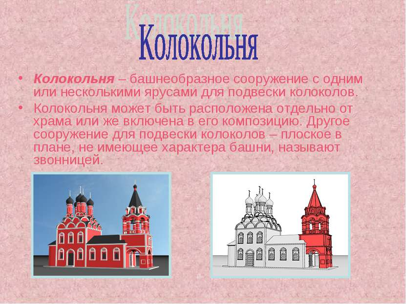 Колокольня – башнеобразное сооружение с одним или несколькими ярусами для под...