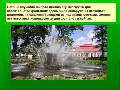 Петр не случайно выбрал именно эту местность для строительства фонтанов: здес...