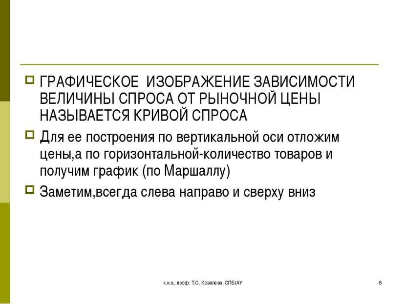 к.н.э., проф. Т.С. Ковалева, СПБгАУ * ГРАФИЧЕСКОЕ ИЗОБРАЖЕНИЕ ЗАВИСИМОСТИ ВЕЛ...