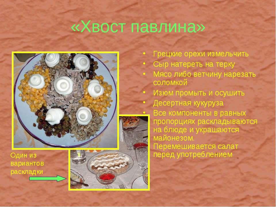 «Хвост павлина» Грецкие орехи измельчить Сыр натереть на терку Мясо либо ветч...