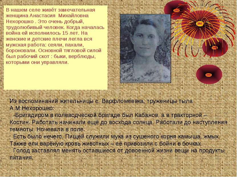 Из воспоминаний жительницы с. Варфломеевка, труженицы тыла А.М.Нехорошко: -Бр...