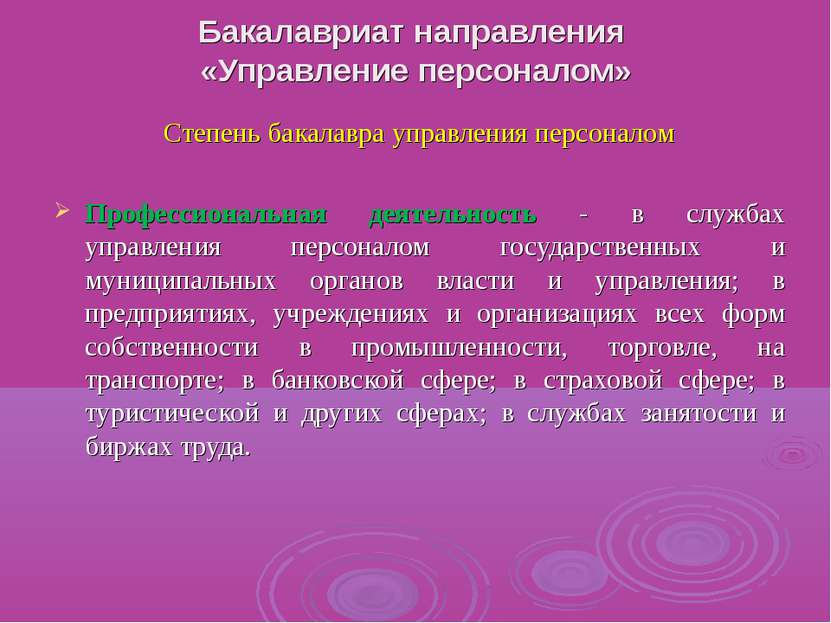 Бакалавриат направления «Управление персоналом» Степень бакалавра управления ...