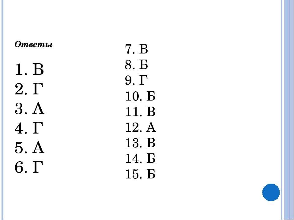 Ответы  1. В 2. Г 3. А 4. Г 5. А 6. Г 7. В 8. Б 9. Г 10. Б 11. В 12. А 13....