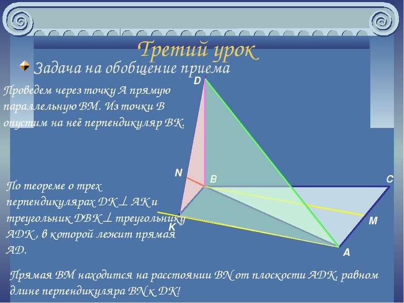 Третий урок Задача на обобщение приема Проведем через точку A прямую параллел...