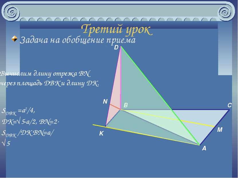 Третий урок Задача на обобщение приема A B C M D K N Вычислим длину отрезка B...