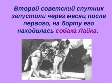 Второй советский спутник запустили через месяц после первого, на борту его на...