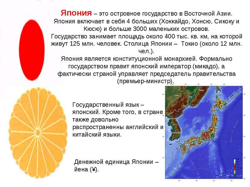Япония – это островное государство в Восточной Азии. Япония включает в себя 4...