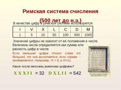 X X X I I = 32 D X L I I = 542 Значение цифры не зависит от ее положения в чи...
