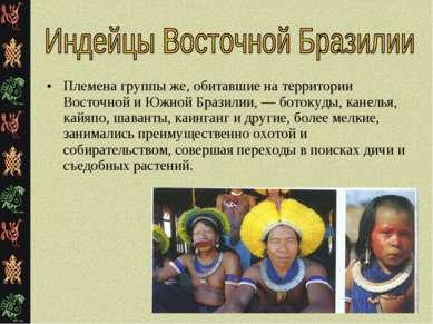 Племена группы же, обитавшие на территории Восточной и Южной Бразилии, — бото...