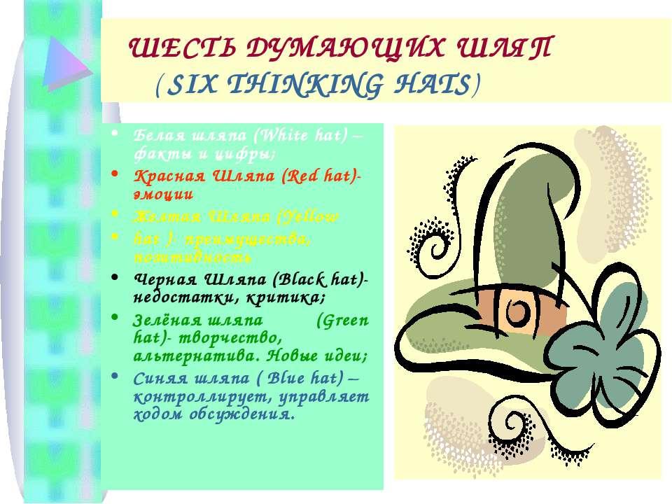 ШЕСТЬ ДУМАЮЩИХ ШЛЯП ( SIX THINKING HATS) Белая шляпа (White hat) – факты и ци...
