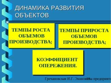 ДИНАМИКА РАЗВИТИЯ ОБЪЕКТОВ ТЕМПЫ РОСТА ОБЪЕМОВ ПРОИЗВОДСТВА; ТЕМПЫ ПРИРОСТА О...