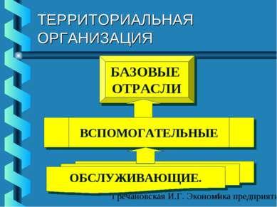 ТЕРРИТОРИАЛЬНАЯ ОРГАНИЗАЦИЯ БАЗОВЫЕ ОТРАСЛИ ВСПОМОГАТЕЛЬНЫЕ ОБСЛУЖИВАЮЩИЕ. Гр...