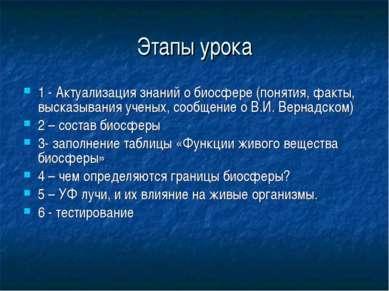 Этапы урока 1 - Актуализация знаний о биосфере (понятия, факты, высказывания ...