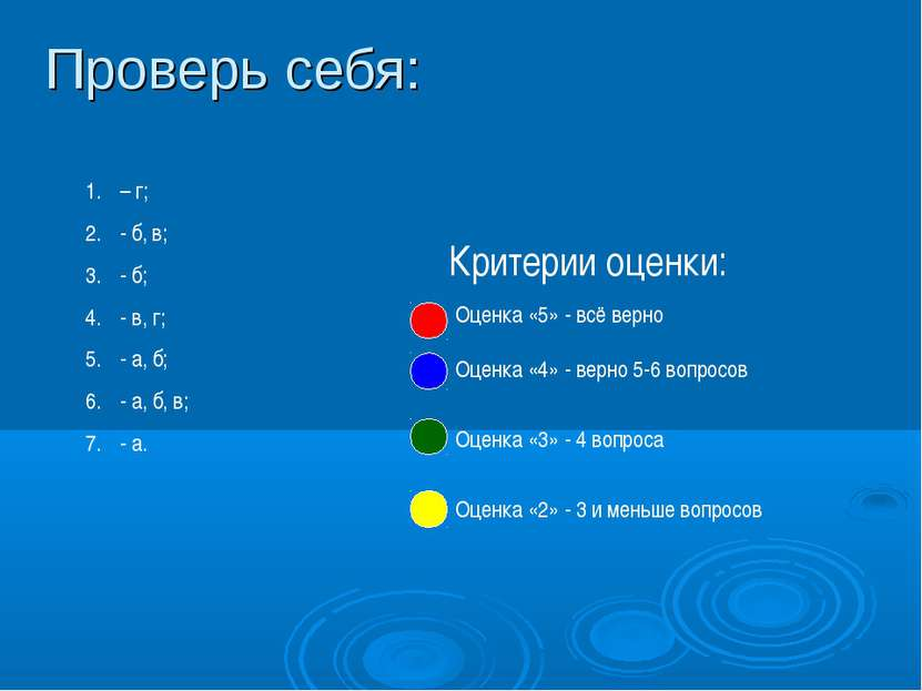 Проверь себя: – г; - б, в; - б; - в, г; - а, б; - а, б, в; - а. Оценка «5» - ...