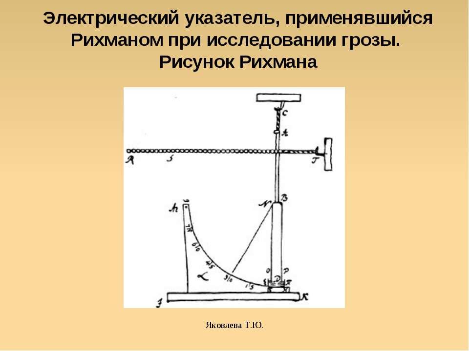 Яковлева Т.Ю. Электрический указатель, применявшийся Рихманом при исследовани...