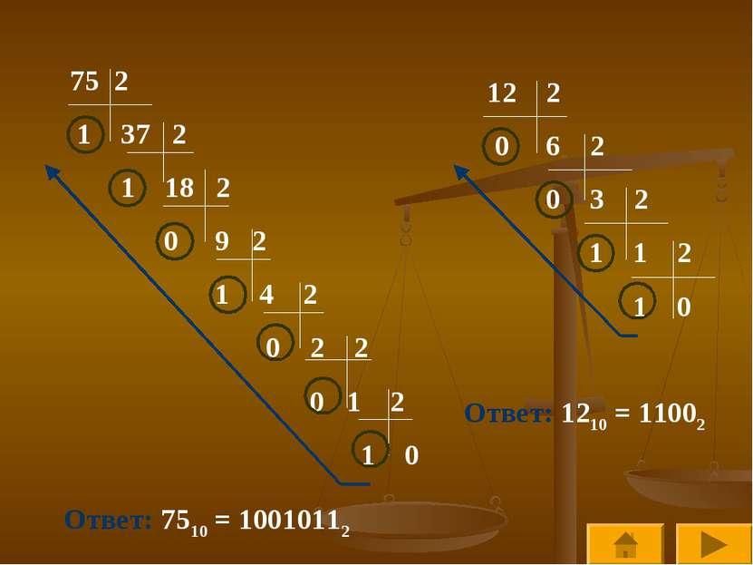 2 1 37 2 1 18 2 0 9 2 1 4 2 0 2 2 0 1 2 1 0 Ответ: 7510 = 10010112 12 2 0 6 2...