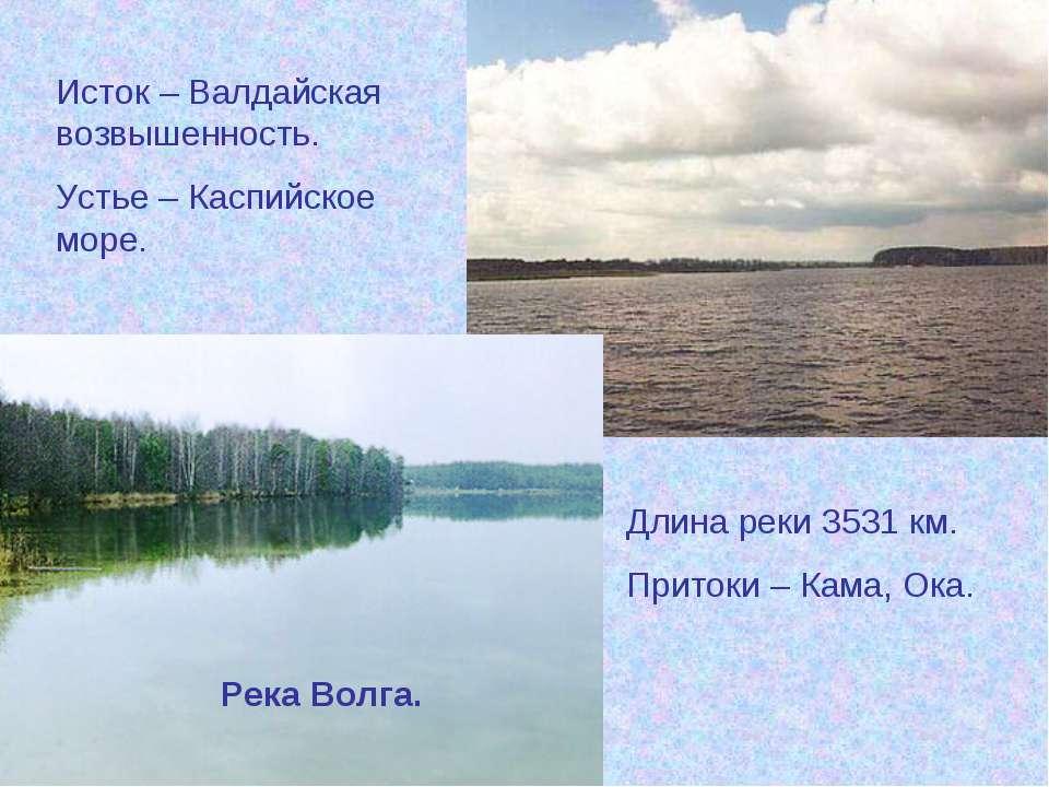 Река Волга. Исток – Валдайская возвышенность. Устье – Каспийское море. Длина ...