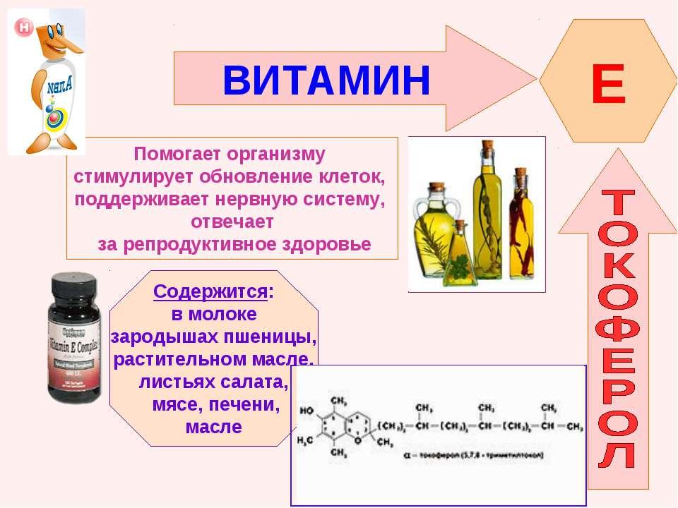 ВИТАМИН E Помогает организму стимулирует обновление клеток, поддерживает нерв...