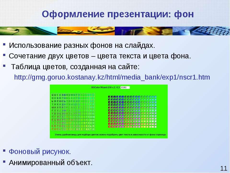 Оформление презентации: фон Использование разных фонов на слайдах. Сочетание ...