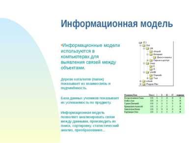 Информационная модель Информационные модели используются в компьютерах для вы...
