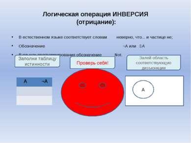Логическая операция ИНВЕРСИЯ (отрицание): В естественном языке соответствует ...