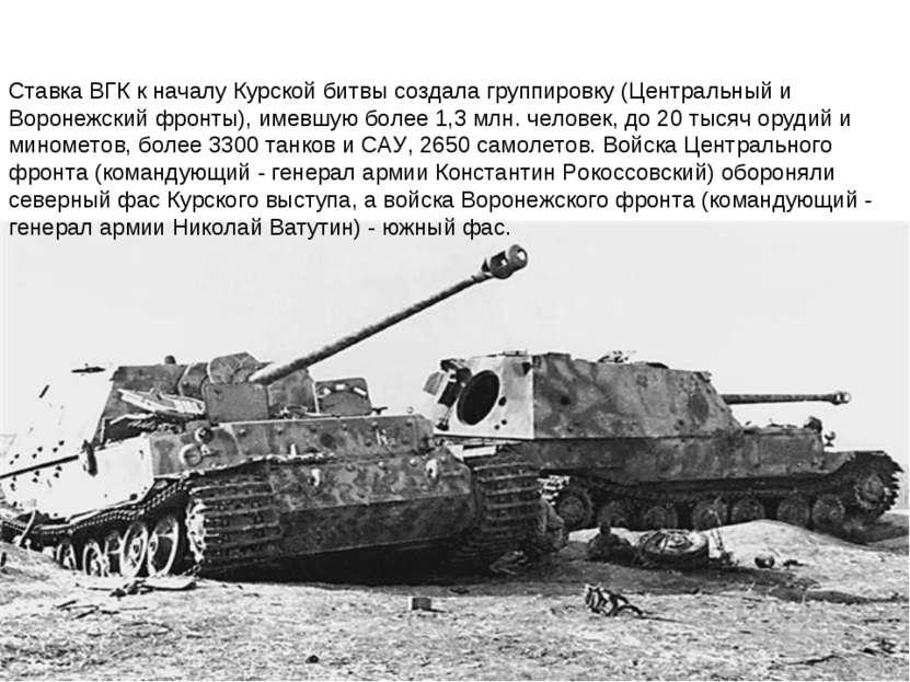 Ставка ВГКк началу Курской битвысоздала группировку (Центральный и Воронежс...