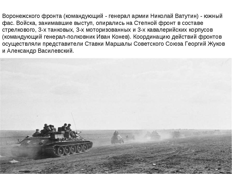Воронежского фронта (командующий - генерал армии Николай Ватутин) - южный фас...