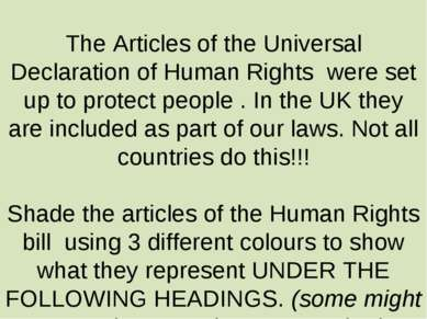 The Articles of the Universal Declaration of Human Rights were set up to prot...