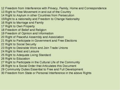 12 Freedom from Interference with Privacy, Family, Home and Correspondence 13...