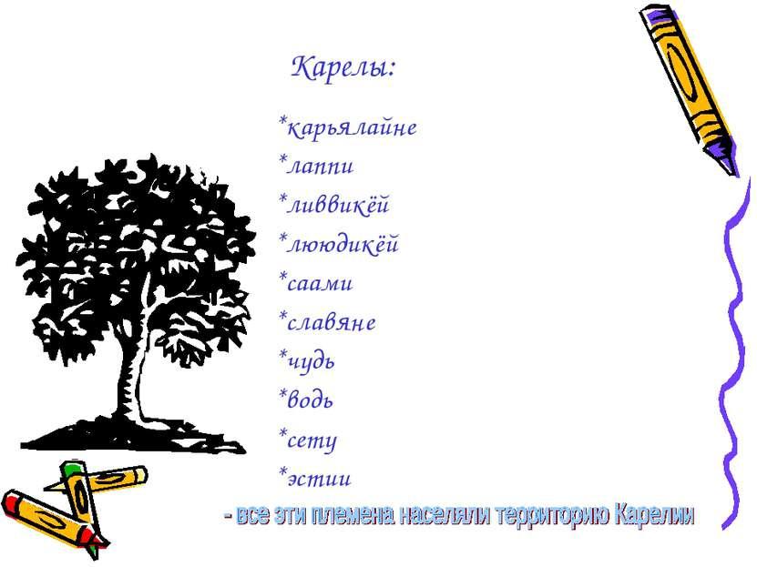 Карелы: *карьялайне *лаппи *ливвикёй *лююдикёй *саами *славяне *чудь *водь *с...