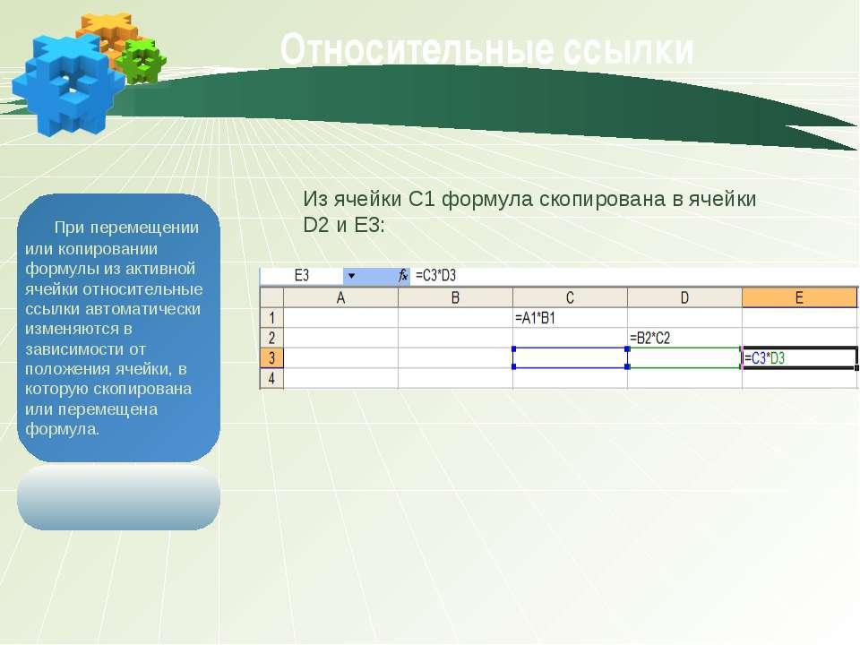 Относительные ссылки При перемещении или копировании формулы из активной ячей...
