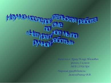 Выполнил: Кушу Тимур Адамович ученик 2 класса МОУ СОШ № 4 Научный руководител...