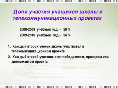 Доля участия учащихся школы в телекоммуникационных проектах 2008-2009 учебный...