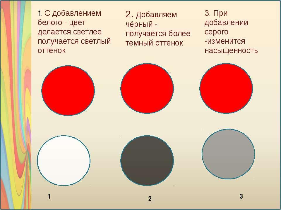 1. С добавлением белого - цвет делается светлее, получается светлый оттенок 3...