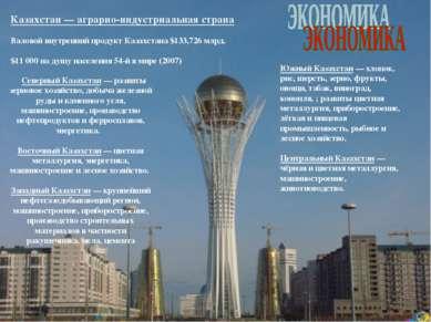 Северный Казахстан — развиты зерновое хозяйство, добыча железной руды и камен...