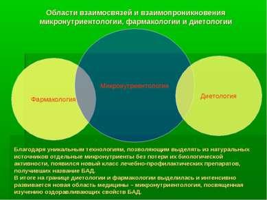 Области взаимосвязей и взаимопроникновения микронутриентологии, фармакологии ...