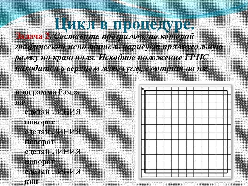 Цикл в процедуре. Задача 2. Составить программу, по которой графический испол...
