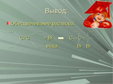 Вывод: Обесцвечивание раствора: … … … … С=С + Br2 … С С … … … вода Br Br