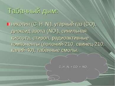 Табачный дым: никотин (С10 Н14 N2), угарный газ (СО), диоксид азота (NO2), си...
