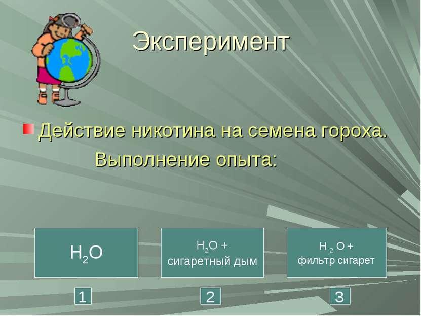 Эксперимент Действие никотина на семена гороха. Выполнение опыта: H2O H2O + с...