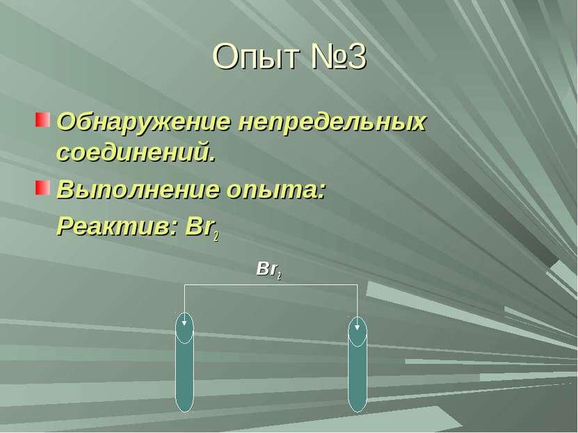 Опыт №3 Обнаружение непредельных соединений. Выполнение опыта: Реактив: Br2 Br2