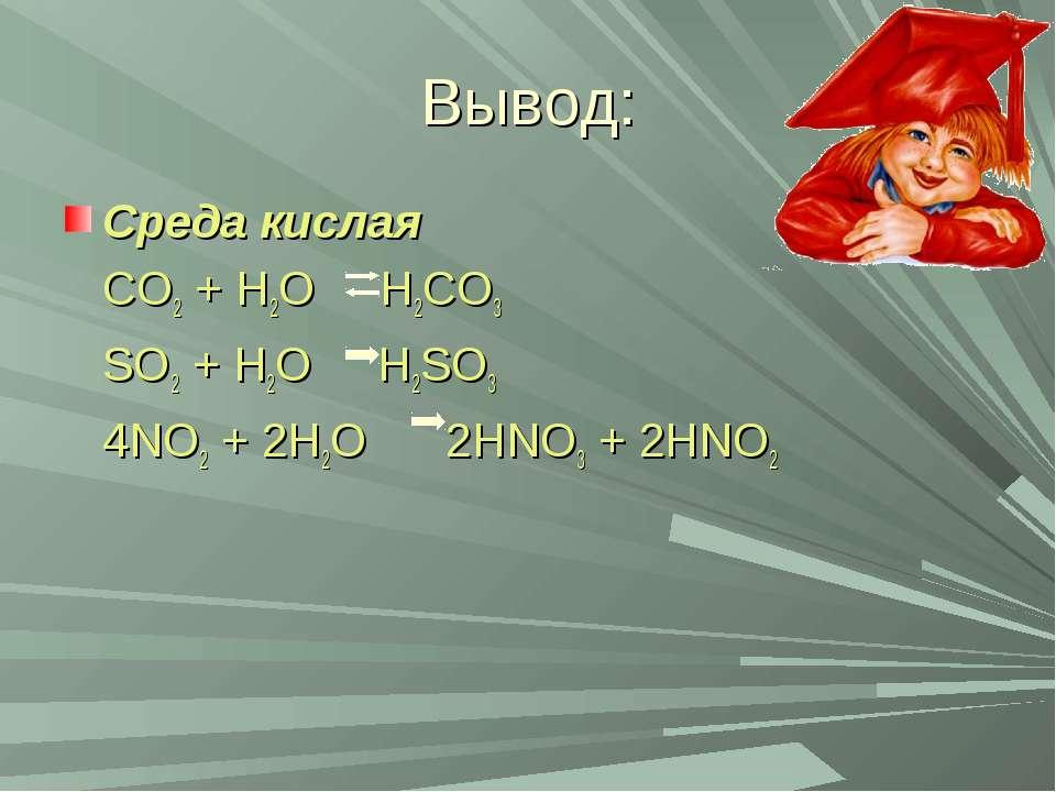 Вывод: Среда кислая CO2 + H2O H2CO3 SO2 + H2O H2SO3 4NO2 + 2H2O 2HNO3 + 2HNO2