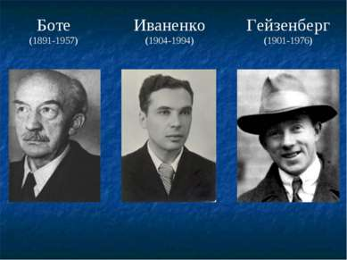 Боте (1891-1957) Иваненко (1904-1994) Гейзенберг (1901-1976)