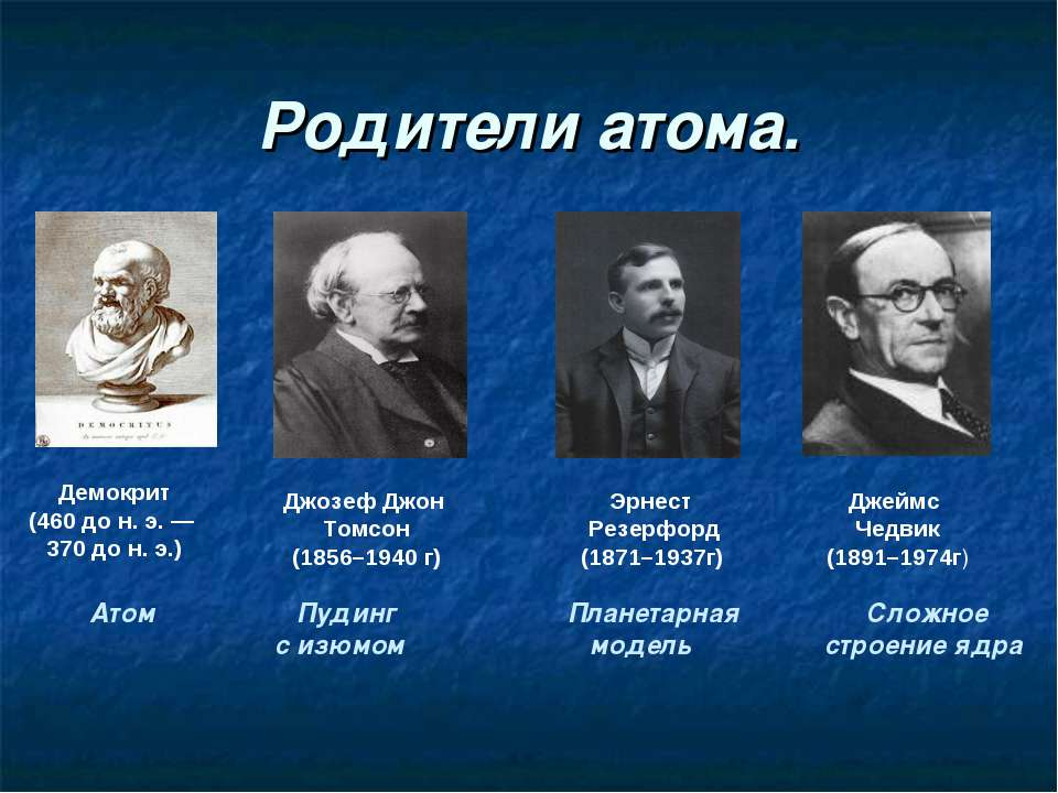 Родители атома. Демокрит (460 до н. э. — 370 до н. э.) Джозеф Джон Томсон (18...