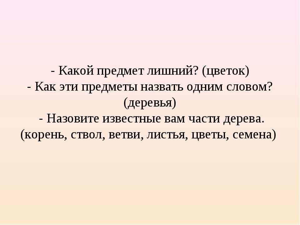- Какой предмет лишний? (цветок) - Как эти предметы назвать одним словом? (де...