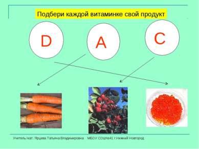 А С D Подбери каждой витаминке свой продукт Учитель Iкат. Ярцева Татьяна Влад...