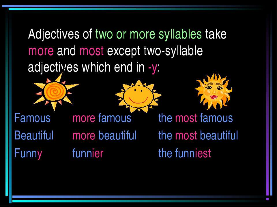Adjectives of two or more syllables take more and most except two-syllable ad...