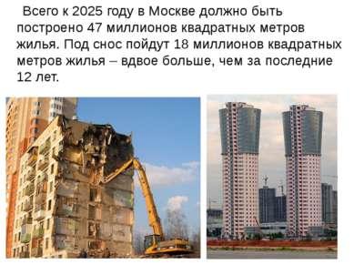Всего к 2025 году в Москве должно быть построено 47 миллионов квадратных метр...
